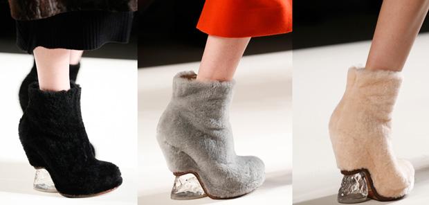 Fendi shearling boots black grey pink