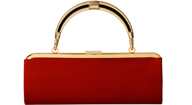 Balmain x H&M small red clutch