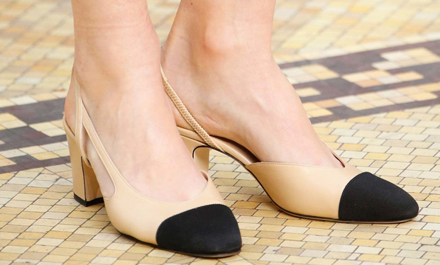 Chanel two tone slingback pumps