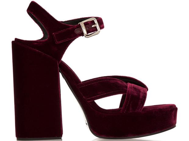 Jil Sanders Vevet Platform sandals