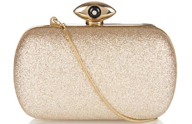 Diane von Furstenberg DvF evil eye gold clutch