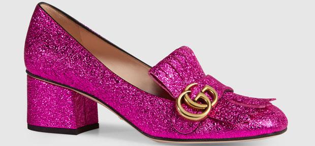 Gucci Marmont metallic mid heel pumps pink
