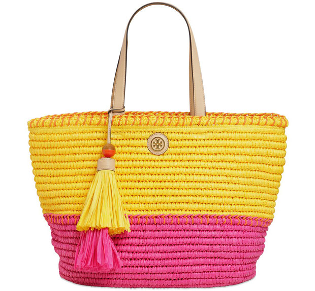 Tory Burch straw bag yellow pink