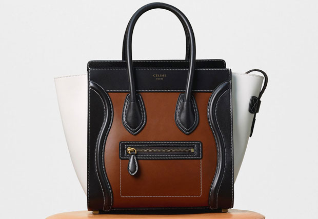 Céline Micro Luggage calfskin chestnut multicolour
