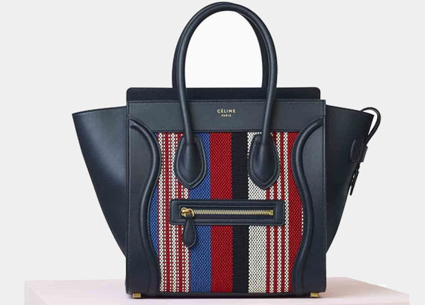 Céline Luggage micro navy blue woven cotton