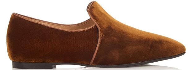 The Row Alys loafers bronze velvet