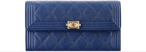 Chanel Boy wallet flap caviar blue