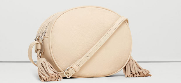 Mango beige camera bag franjes