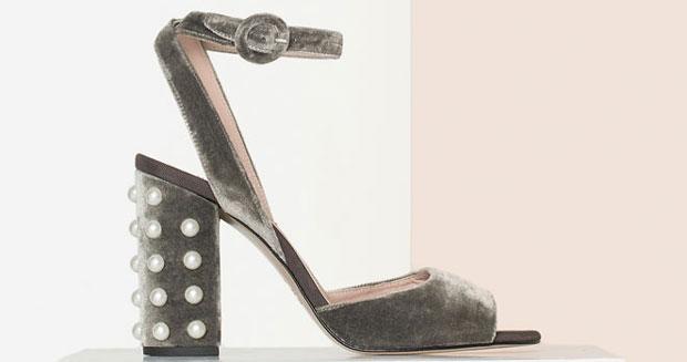 Uterqüe grey velvet sandals pearls