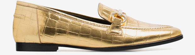 uterque mock croc loafers gold