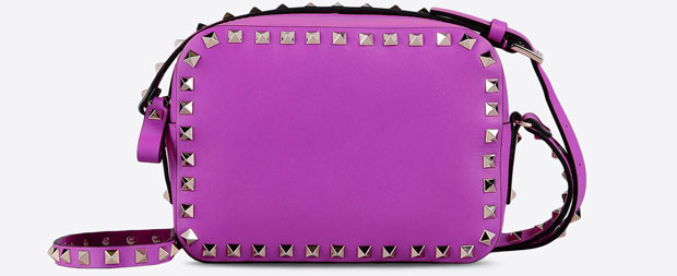 Valentino Rockstud camera bag purple