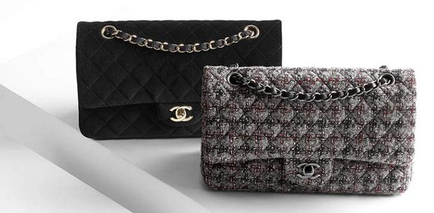 Chanel tweed velvet classic flap bags