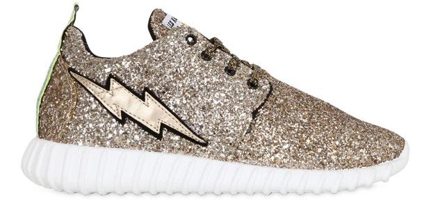 Leo Studio design lighting bolt glitter sneakers