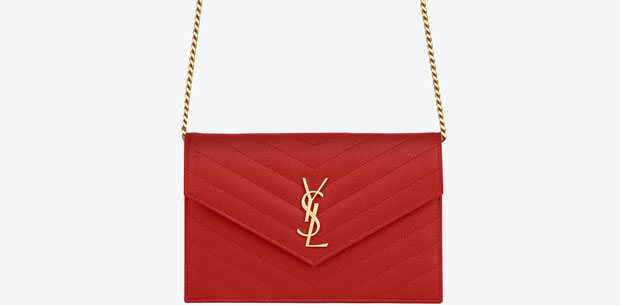 Saint Laurent Monogram WOC envelope grain de poudre red