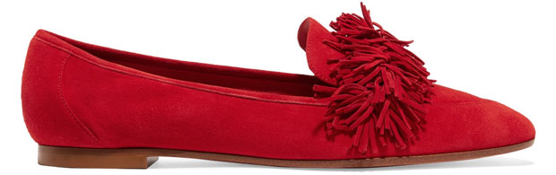 Aquazzura Wild fringed loafers red