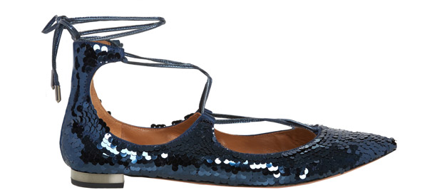 Aquazzura Christy flats blue glitter