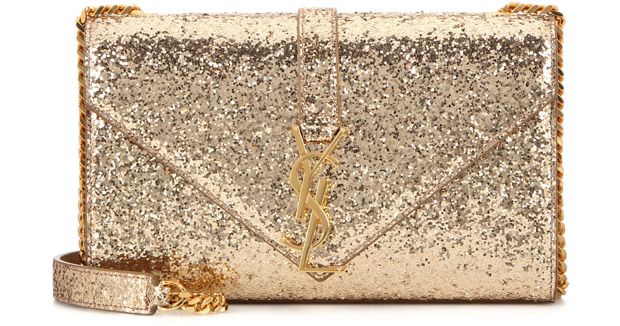Saint Laurent Classic small monogram gold glitter bag