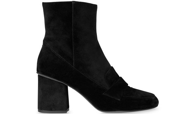 Whistles Ambrose square toe loafer boots black