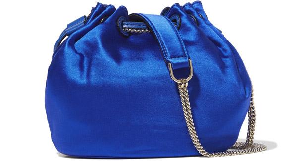 Diane von Furstenberg satin bucket bag blue