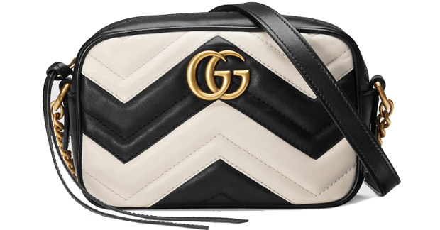 Gucci Marmont matelasse camera mini bag black white
