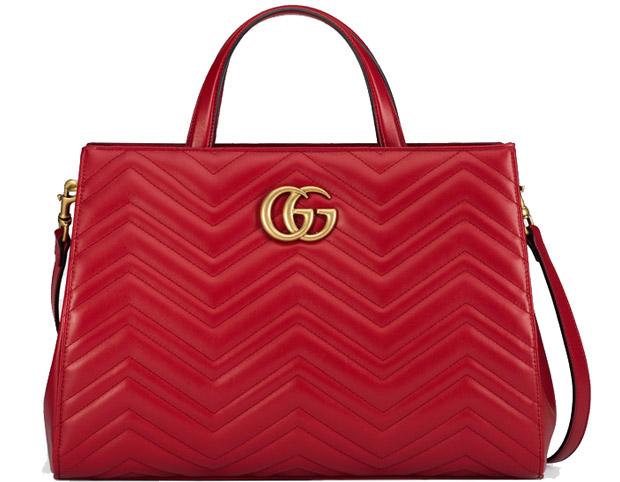 Gucci Marmont matelasse top handle bag hibiscus red