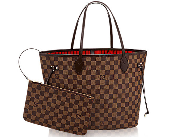 580216ac2d2 Neverfull PM in Damier Azur Louis Vuitton Neverfull MM toile Damier Ebène  rouge
