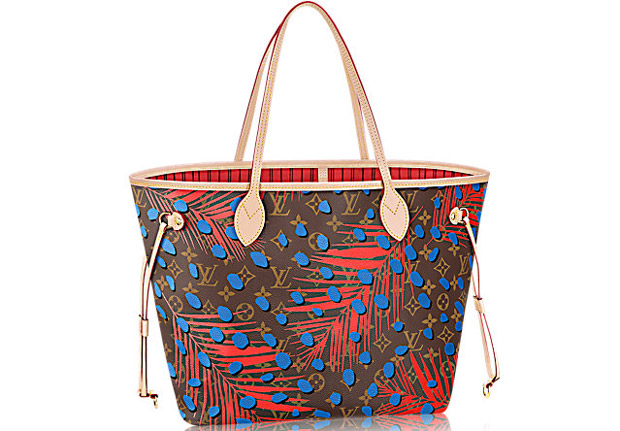 Louis Vuitton Neverfull MM toile Monogram palm springs jungle dots denim
