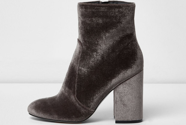 River Island velvet boots greys