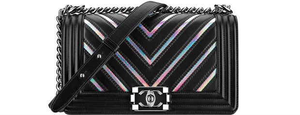 Chanel spring summer 2017 boy bag medium black chevron holographic