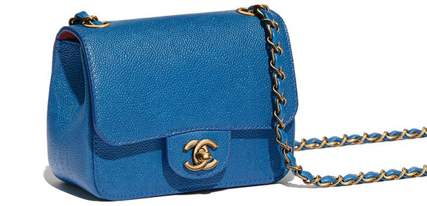 Chanel spring summer 2017 square mini flap caviar blue