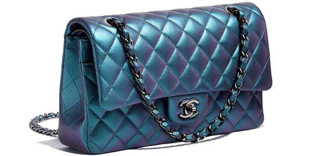 Chanel spring summer 2017 classic flap bag blue iridescent