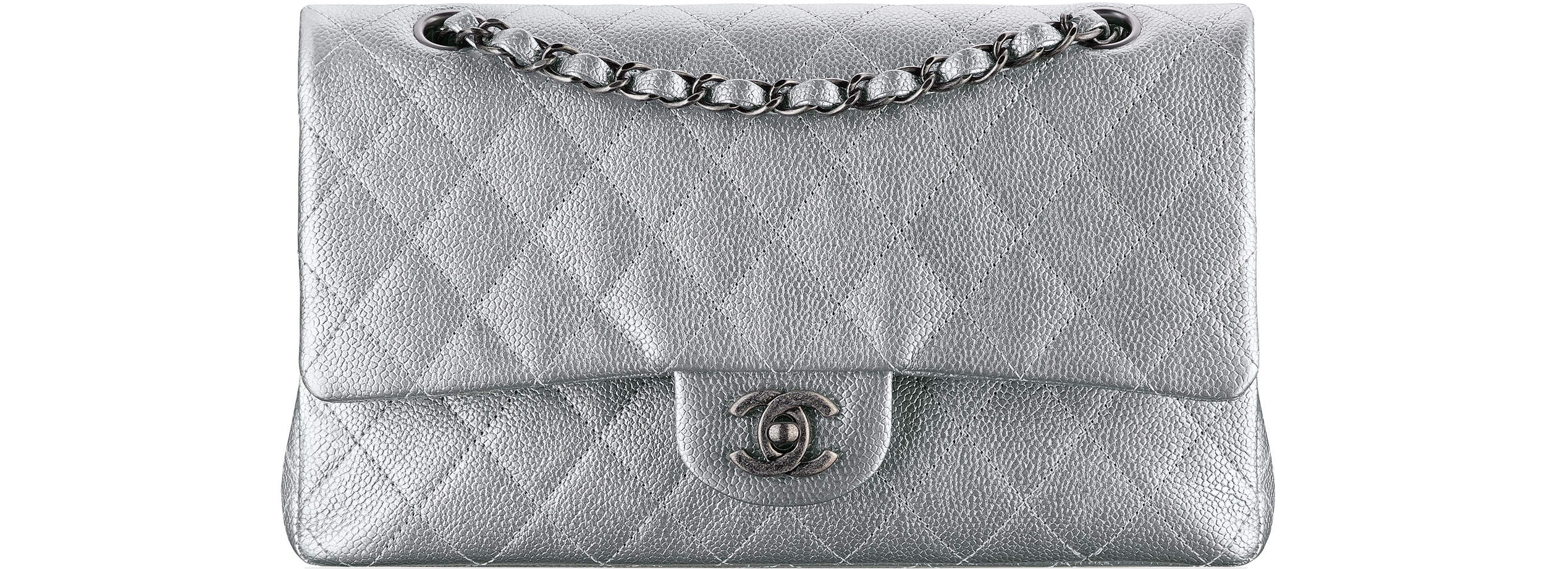 Chanel spring summer 2017 classic flap bag silver
