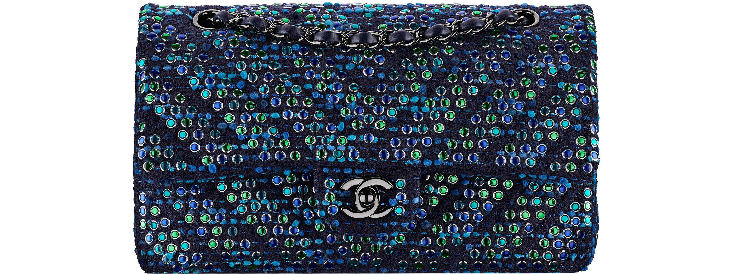 Chanel spring summer 2017 classic flap bag blue tweed studs