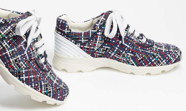 Chanel sneakers tweed white blue