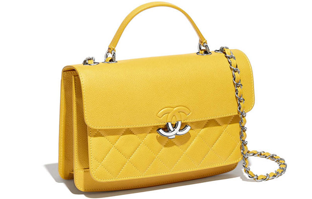 Chanel spring summer 2017 top handle flap bag yellow