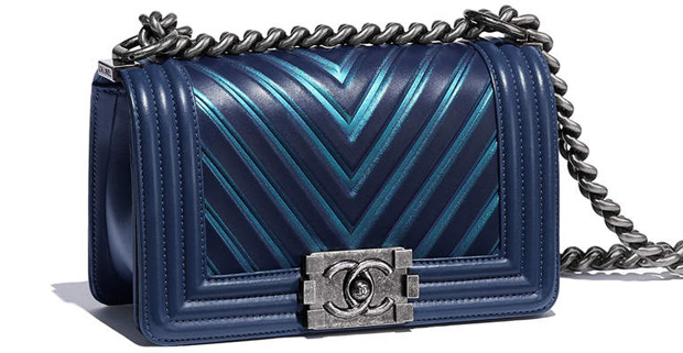 Chanel spring summer 2017 boy bag medium blue chevron
