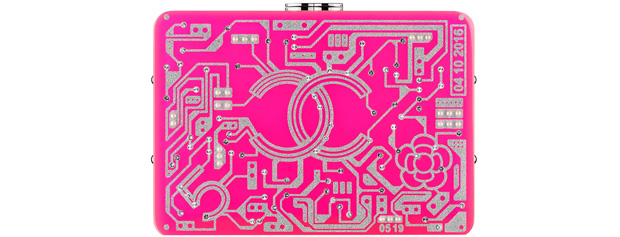 Chanel spring summer 2017 clutch circuit board pink