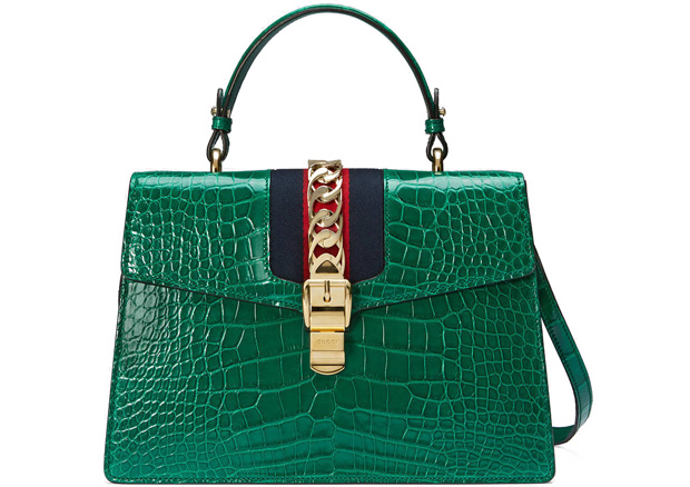 Gucci Silvie crocodile green