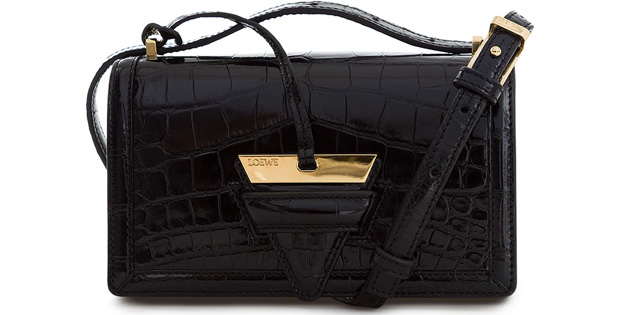 Loewe Barcelona small black polished crocodile