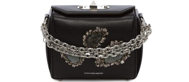 Alexander McQueen box 16 black silver stones
