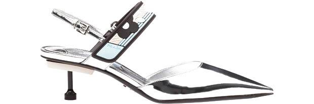 Prada Metallic silver patent kitten heels