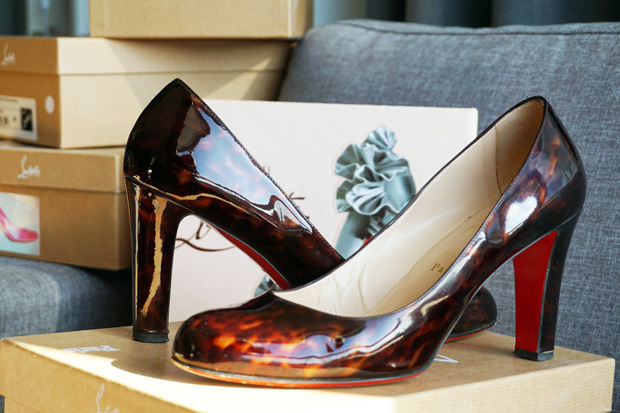 TBH Christian Louboutin collectie Miss Stack 85 tortoise