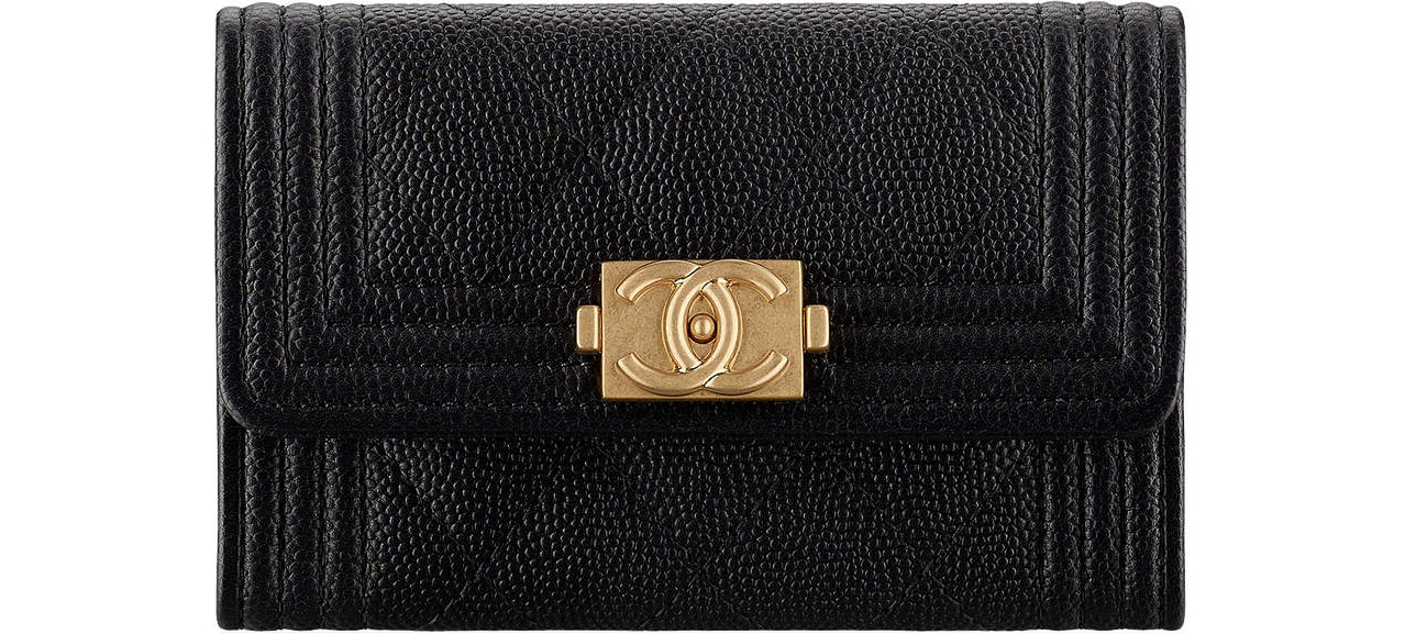 Chanel Boy cardholder black gold
