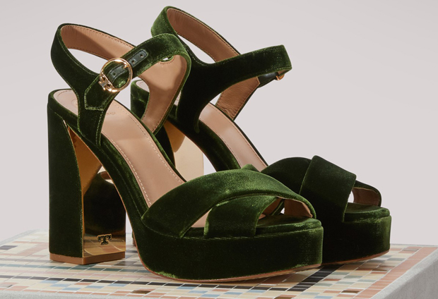 Tory Burch platform velvet sandals green