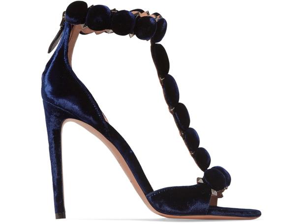Alaïa studded sandals velvet blue