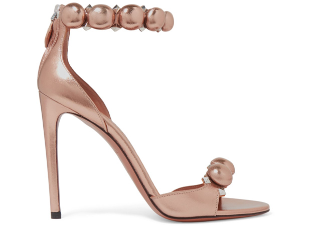Alaïa studded sandals metallic rosegold