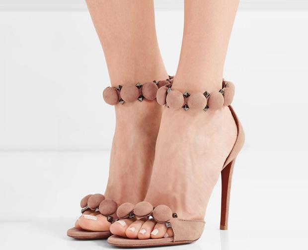 Alaïa studded sandals suède nude