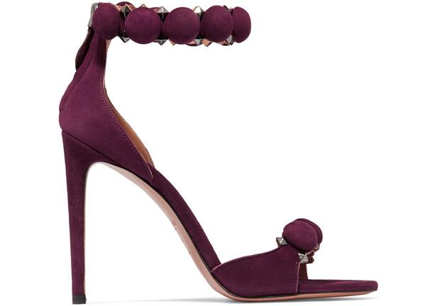 Alaïa studded sandals suède purple