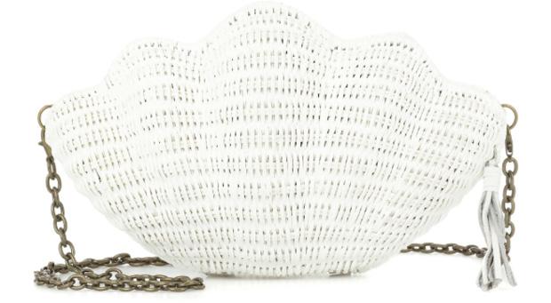 Kaya wicker clutch shell white