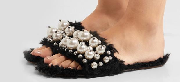 Miu Miu faux fur slippers black